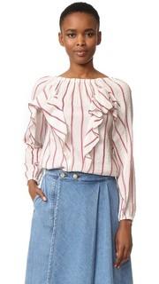 Блуза с оборками в полоску Intropia