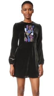 Бархатное платье с расклешенными рукавами Cynthia Rowley