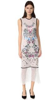 Платье без рукавов с цветочной вышивкой Yigal Azrouel