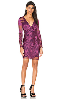 Embroidered mesh plunge dress - Lavish Alice