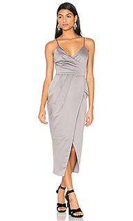 Satin wrap midi dress - Lavish Alice