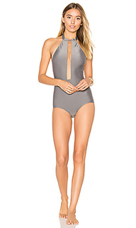 Halter neck swimsuit with tulle - ADRIANA DEGREAS