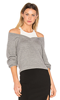 Merino v neck sweater with inner tank - T by Alexander Wang
