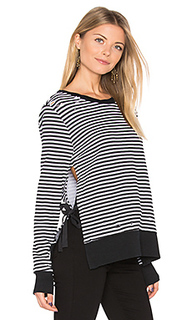 Stripe side slit sweatshirt - Pam & Gela