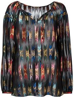 прозрачная блузка с блестящим узором  Saint Laurent