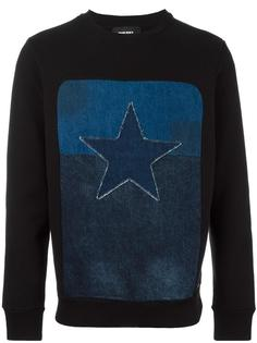star patch denim inset sweatshirt Diesel