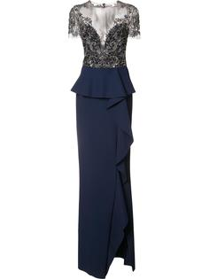 embroidered ruffle detail dress Marchesa Notte