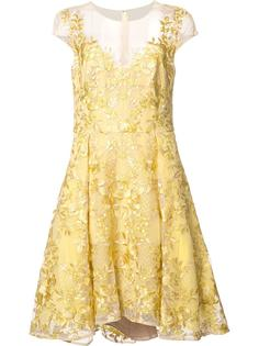 floral embroidery flared dress Marchesa Notte