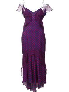 платье в горошек с открытыми плечами J. Mendel