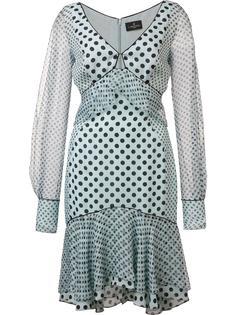 платье в горошек с прозрачными рукавами J. Mendel