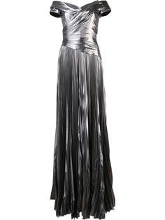 плиссированное платье с открытыми плечами J. Mendel