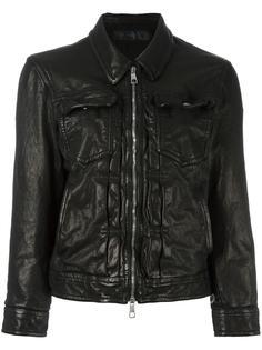 кожаная куртка с эффектом помятости Neil Barrett