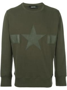 star patch ribbed trim sweatshirt Diesel