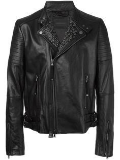 stud detail zip up jacket Diesel Black Gold