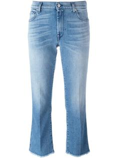 raw hem cropped jeans 7 For All Mankind