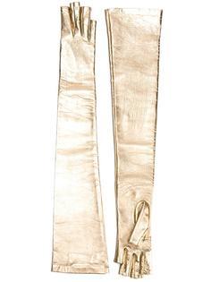 длинные перчатки с эффектом металлик Gucci