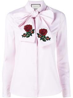 объемная рубашка с бантом и вышивкой Gucci
