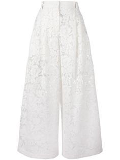 кружевные гипюровые широкие брюки Valentino