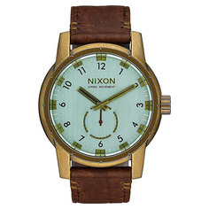 Кварцевые часы Nixon Patriot Leather Brass/Green Crystal/Brown