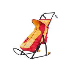 Санки-коляска Снегурочка 2P-1, с колесами, ABC Academy, желтый/красный Скользяшки