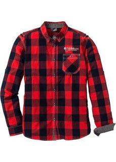 Рубашка Slim Fit с длинным рукавом (лазурный в клетку) Bonprix