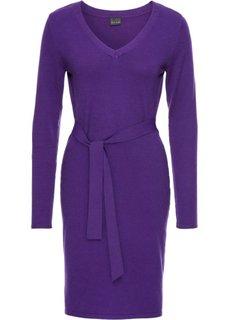 Вязаное платье с поясом в талии (серый меланж) Bonprix