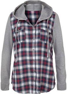 Клетчатая блуза с трикотажными рукавами и капюшоном (бирюзовый в клетку) Bonprix