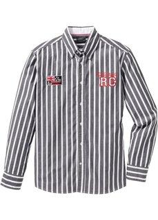 Полосатая рубашка Regular Fit с длинным рукавом (ночная синь/белый в полоску) Bonprix