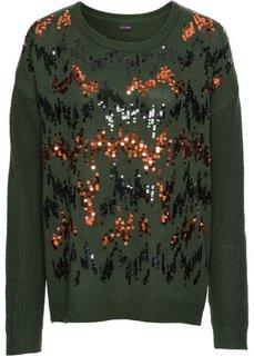 Пуловер с пайетками (черный) Bonprix