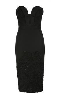 Платье-бюстье с кружевной вставкой и пайетками Oscar de la Renta