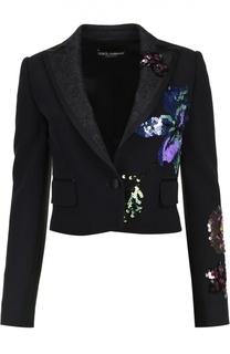 Жакет с кружевными лацканами и пайетками Dolce & Gabbana