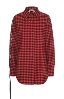 Блуза прямого кроя в клетку с декоративной отделкой No. 21