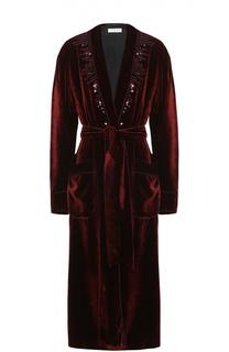 Бархатное пальто с пайетками и накладными карманами Dries Van Noten
