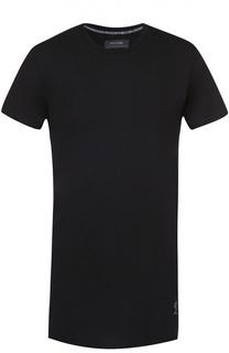 Удлиненная хлопковая футболка с декоративными молниями Religion