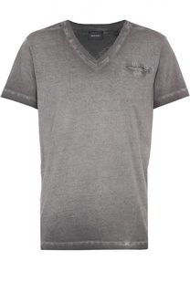 Хлопковая футболка с V-образным вырезом Diesel