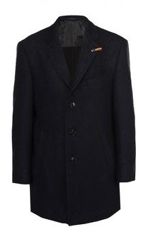 Шерстяное однобортное пальто с отложным воротником Baldessarini