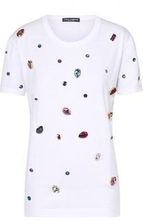 Футболка прямого кроя с кристаллами Dolce & Gabbana