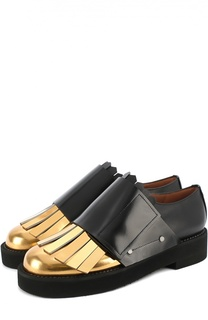 Кожаные ботинки с контрастной вставкой и бахромой Marni