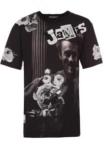 Хлопковая футболка с принтом James Dean и нашивками Dolce & Gabbana