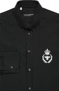 Хлопковая рубашка с воротником button down и вышивкой Dolce & Gabbana