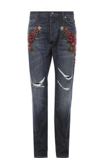 Джинсы свободного кроя с вышивкой Dolce & Gabbana