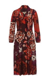 Шелковое приталенное платье с воротником аскот Burberry