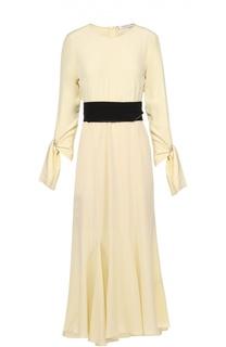 Шелковое платье-макси с бантами и контрастным поясом Dorothee Schumacher