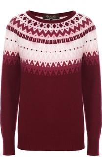 Кашемировый пуловер прямого кроя с ярким принтом Loro Piana
