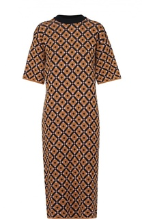 Платье-миди прямого кроя с контрастным принтом Marni