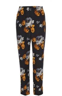 Шелковые брюки прямого кроя с цветочным принтом Theory