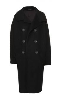 Двубортное пальто прямого кроя с отложным воротником Yohji Yamamoto