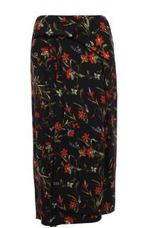 Юбка прямого кроя с цветочным принтом Balenciaga