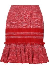 Шерстяная мини-юбка с оборкой Alexander McQueen