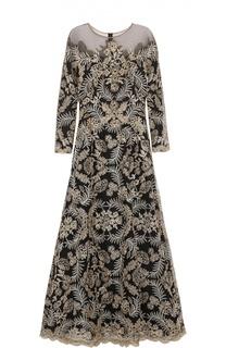 Кружевное платье в пол с прозрачной вставкой Tadashi Shoji